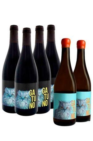 pack de 6 botellas de vino Gatuno ecológico de Madrid